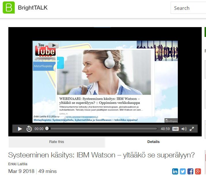 Akateeminen kysymys: Yltääkö IBM Watson superälyyn?